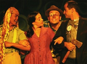 With Andres Ramacho (Cowardly Lion), Renee Scott (Dorothy), Mike Fallon (Scarecow) and Grant Mahnken (Tin Man) SAY GOODBYE, TOTO, Playwrights 6/ Ark Theatre Company, July 2009. Photo by Richard Tatum.